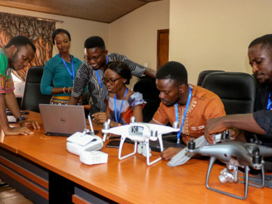 Sierra Leone Flying Labs team conducting drone survey planning.