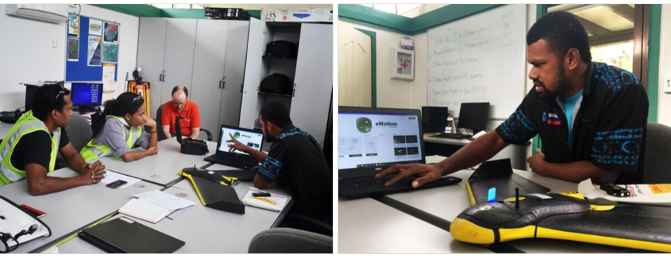 (Left) Kevin and Sophia listening attentively to Semisi as he gives his introduction. (Right) Semisi from South Pacific Flying Labs demonstrating the use of eMotion software.