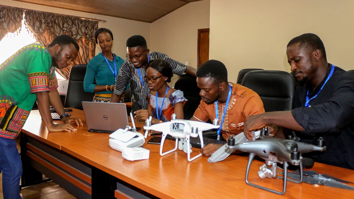 Sierra Leone Flying Labs team conducting drone survey planning.