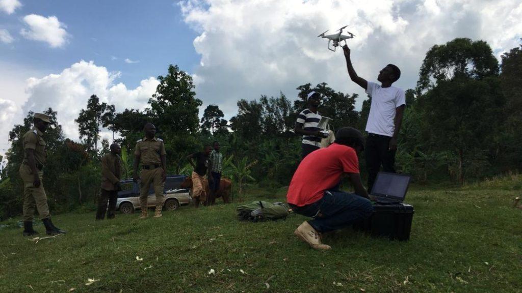 Man grabbing drone