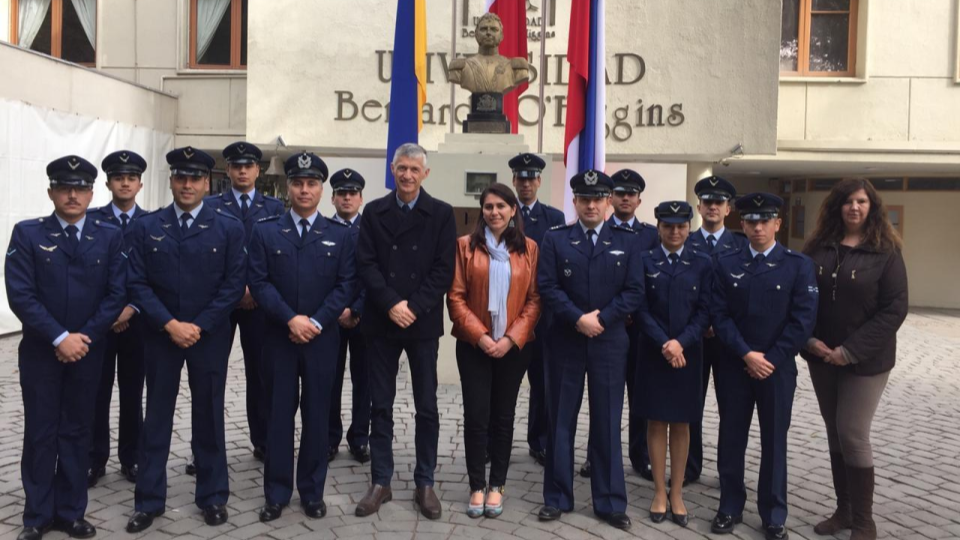 The 14 members of the air force are next to our geomatics manager, Fabiola Barrenecha (in the middle)