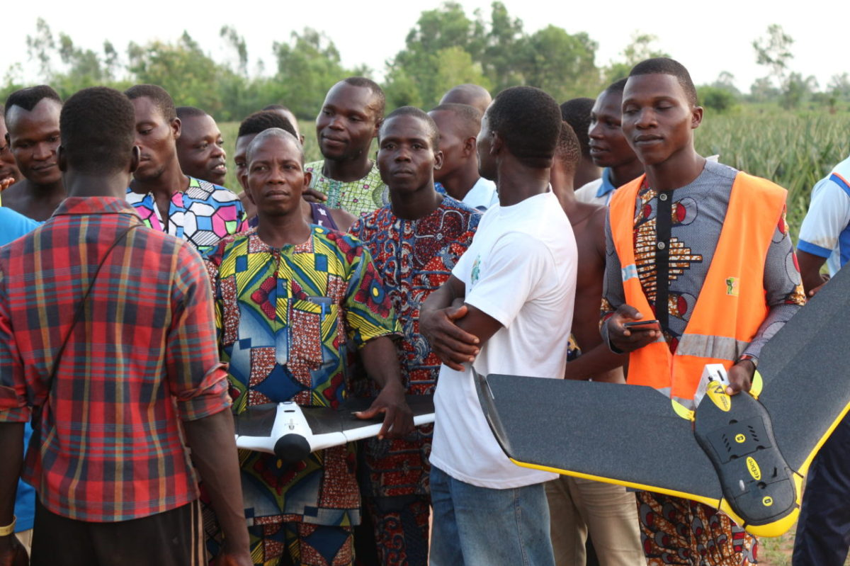 Benin Flying Labs workshop participants discussing drones services for pineapple production