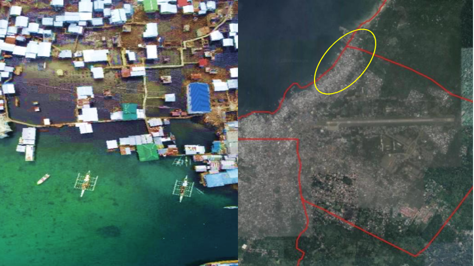 Figure 2. Left: Drone image of the damaged area in the Walled City; Right: Proximity of airport to fire incident area