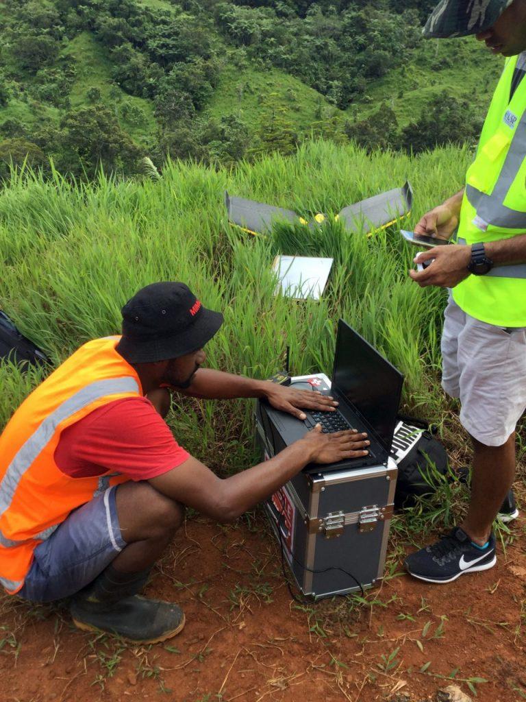 Drone Team preparing for flights at Nakavu