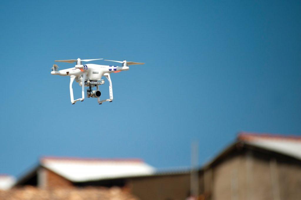 Quadcopter drone in flight