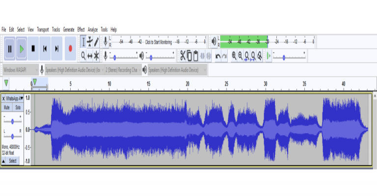 Voice signal buried in heavy noise (Waveform is shown in AUDACITY)