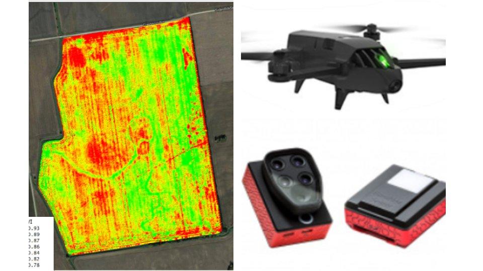 En el lado izquierdo se muestra el dron Bluegrass y la cámara multiespectral sequoia. En el lado derecho se muestra un ejemplo de un orto mosaico multiespectral y la representación del índice NDVI.