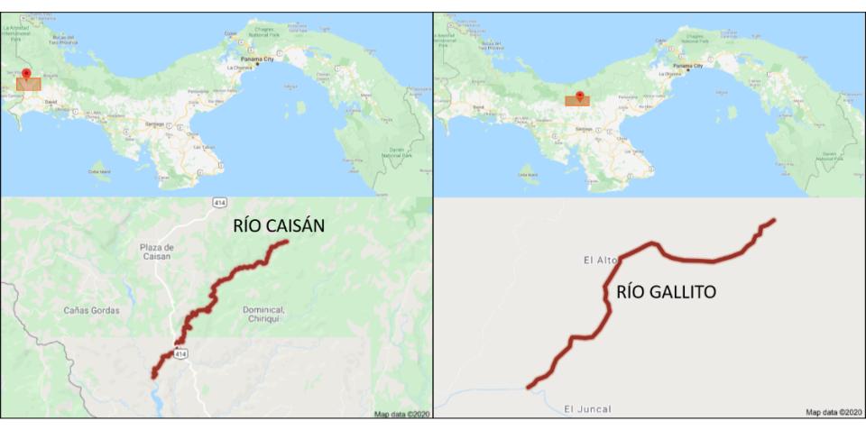 Ilustración 1. Localización de los ríos Gallito y Caisán en la República de Panamá.