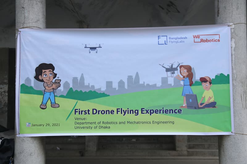 Bangladesh STEM Education Program Banner: First Drone Flying Experience