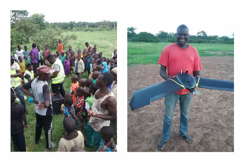 (Left) Farmers receiving training from Benin Flying Labs in using drones in agriculture; (Right) Benin Flying Labs member holding a fixed-wing drone for plantation mapping