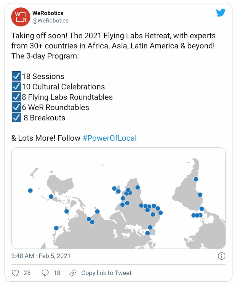 Tweet: Taking off soon! The 2021 Flying Labs Retreat, with experts from 30+ countries in Africa, Asia, Latin America & beyond! Flying Labs share local wisdom with one another.
