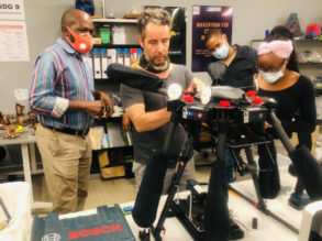 South Africa Flying Labs hosting a re-purposing and maintenance session for a drone used in agriculture.