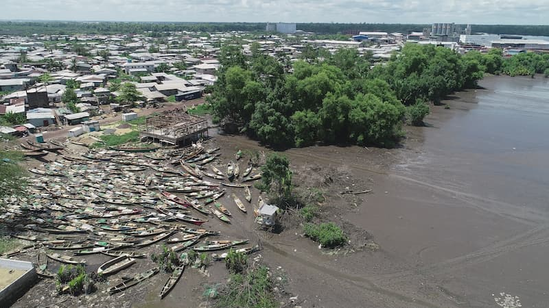 Drone image of construction at the marshy banks of River Wouri
