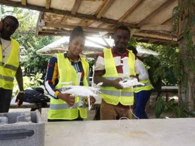 Cameroon Flying Labs - A pose before drone flight in Douala