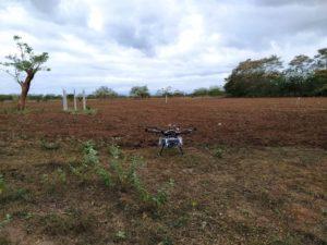 Drone landed in a field